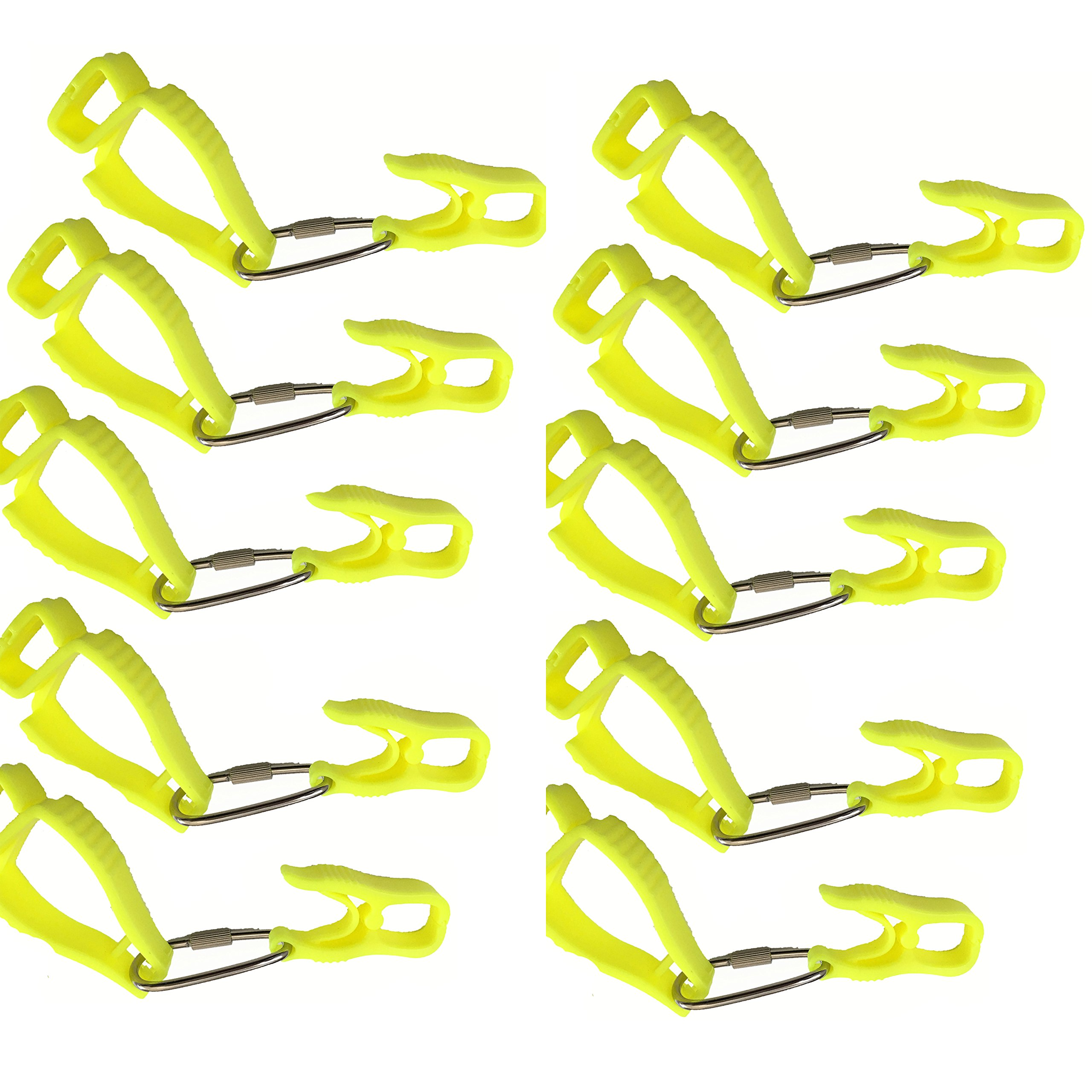 10Pcs AT08-10Y Yellow Sino-Max Glove Grabber Clip Holder Guard Work Safety Clip Glove Keeper, Neon POM,Reduce Hand Injury and Clip, Grab, Attach Gloves, Towels, Glass, Helmet