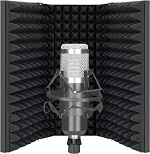 Neewer Pro Microphone Isolation Shield, 3-Panel Pop Filter, High Density Absorbent Foam Front & Vented Metal Back Plate, Compatible with Blue Yeti and Any Condenser Microphone Recording Equipment