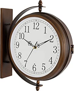 Bestime 17inch Metal Case Double Side Clock. Antique Copper Look. Indoor/Outdoor Garden