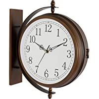 Bestime 17inch Metal Case Double Side Clock. Antique Copper Look. Indoor/Outdoor Garden