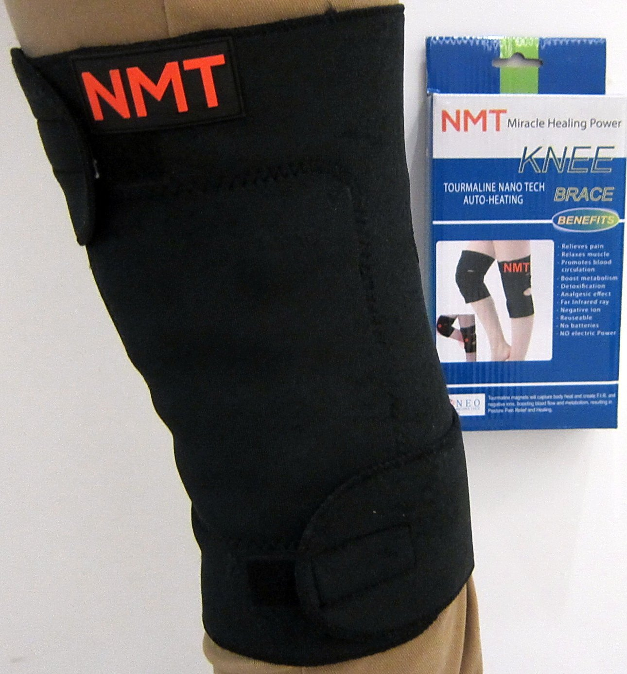 NMT Knee Brace ~ Arthritis, Joint, Pain Relief, Support ~ Natural Physical Therapy ~ New Tourmaline Healing Remedy ~ 2 Adjustable Sizes for Men and Women ~ 1 Black Wrap, Size''Regular-Medium''