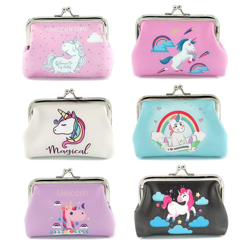 mciskin 6 Piezas de Bolsa de Moneda de unicornio Mini Monedero para Mujeres Chicas
