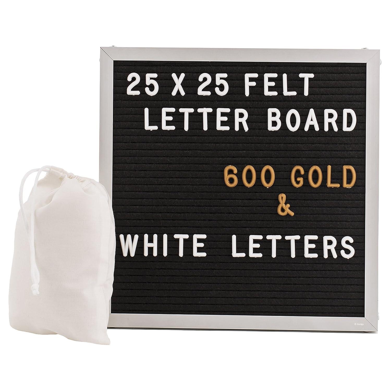 Retro Tableau Daffichage Rainure Chenaie Support et Sac Gadgy /® Aluminium Feutre Letter Board 25x25 cm Avec 600 Lettres /& Chiffres Blanc et Couleur Or