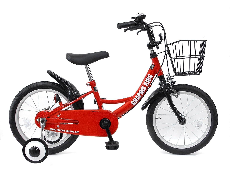 GRAPHIS(グラフィス) 補助輪付き子供用自転車 GR-16 B079XYJS5K 18インチ|レッドブラック レッドブラック 18インチ