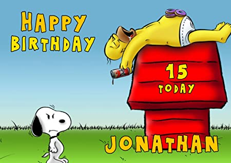 Snoopy And Homer Simpson Birthday Card Customized With Your Name And