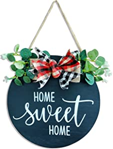 TIMECOSY Home Sweet Home Welcome Sign for Farmhouse, Rustic Wooden Door Hangers Front Porch Decor Outdoor Hanging Vertical Sign