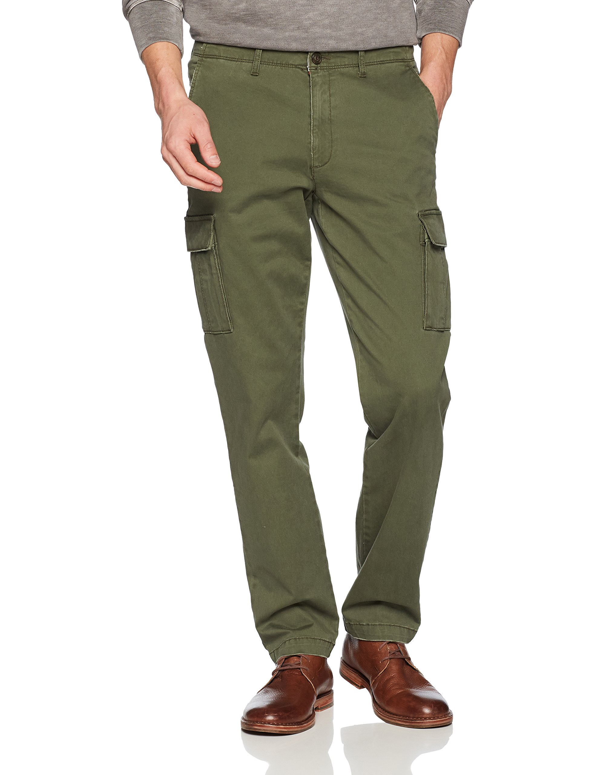 Goodthreads Men's Straight-Fit Vintage Cargo Pant, Deep Depth/Olive, 29W x 30L