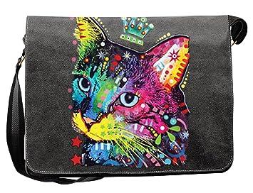 0f5fa0486dea3 Umhängetasche Tasche-Vintagelook mit Cat-Neon-Druck  Thinking Cat Crowned  für