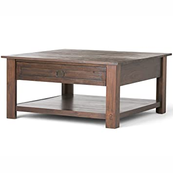Simpli Home Monroe Square Coffee Table  Distressed Charcoal Brown. Amazon com  Simpli Home Monroe Square Coffee Table  Distressed
