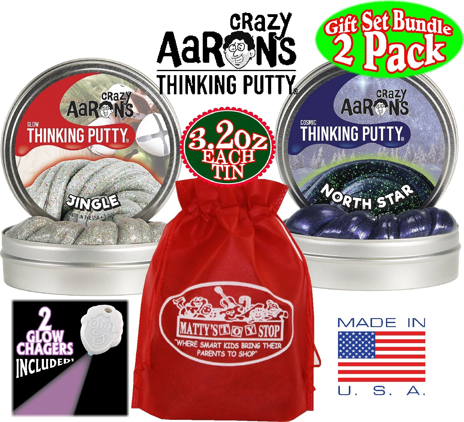 Crazy Aaron's Thinking Putty Holiday (Christmas) Tins ''Jingle'' Glow in the Dark w/Charger, ''North Star'' Cosmic Glow in the Dark w/Charger & Exclusive Storage Bag - 2 Pack