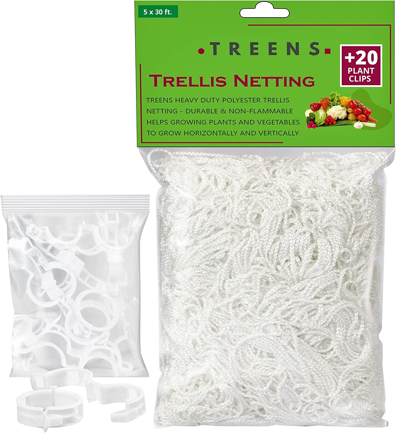 Treens Trellis Netting 5x30 ft. with 20 Additional Plant Clips and 10 Additional Zip Ties, Trellis Net for Climbing Plants Outdoor Best for Cucumber Trellis Tomato Grape Bean and Vine Plants (1 Pack)