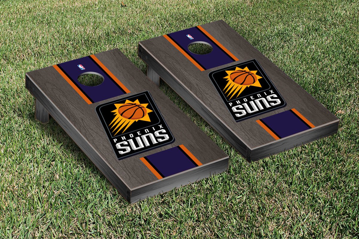 Phoenix Suns NBA Basketball Regulation Cornhole Game Set Onyx Stained Stripe Version by Victory Tailgate
