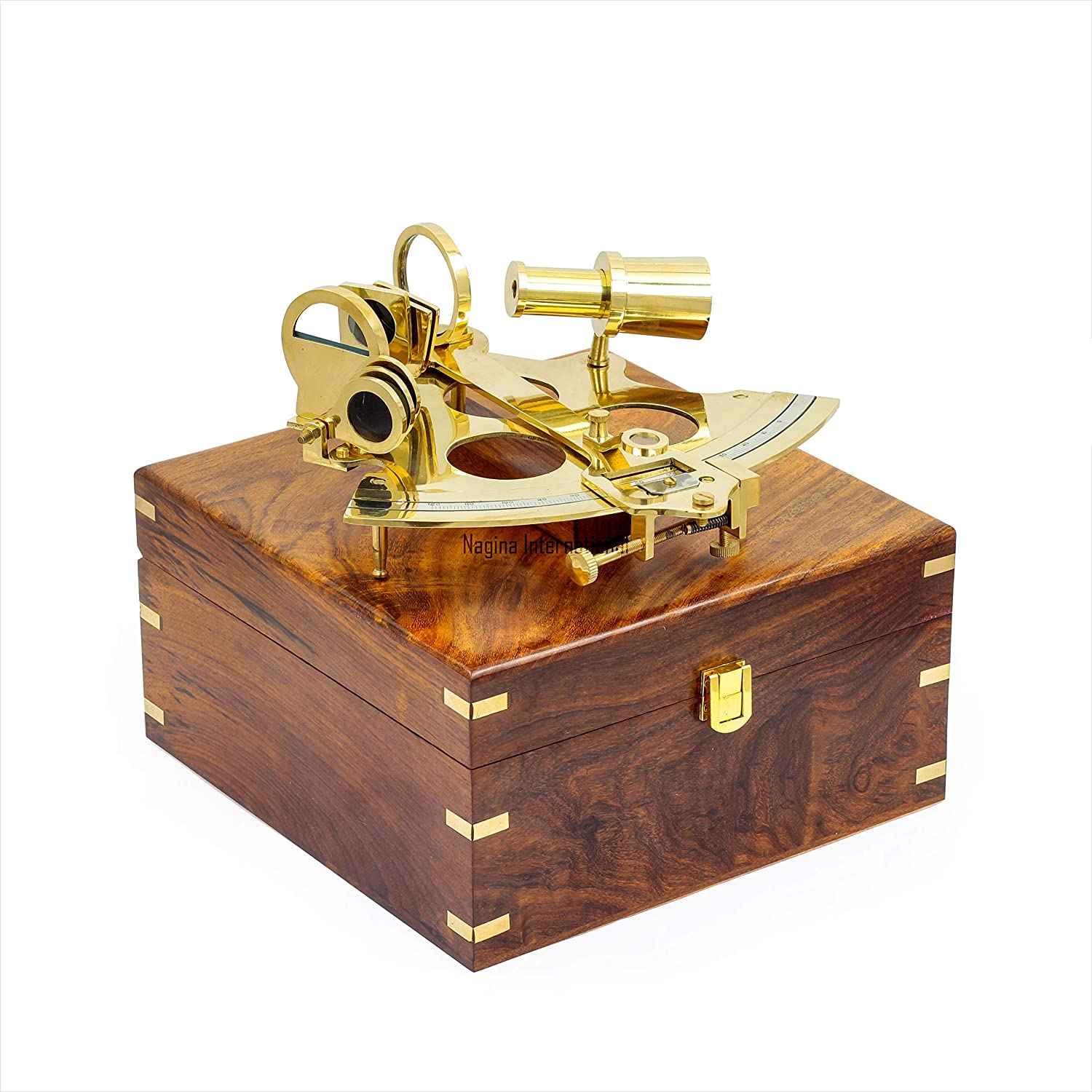 """brass sextant 4/"""" shiny brass sextant vintage heavy quality with glass top box"""