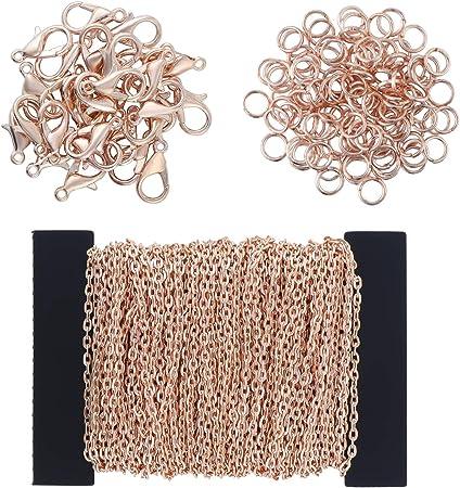 DIY Link Kette Ketten Gliederkette Halsketten mit 100 Biegeringe und 30 Karabiner f/ür Schmuck Herstellung Coolty 39 F/ü/ße Kabel Kette Halskette Bronze