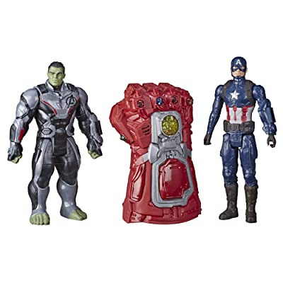 Marvel Avengers: Endgame - Titan Heroes Series and Gauntlet Pack (Red - Hulk and Captain America): Toys & Games