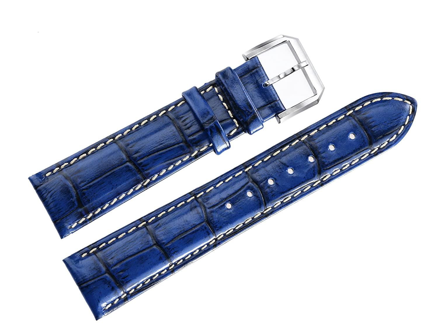 4bbfdd683 20mm Blue Luxury Watch Bands in Genuine Cowhide Leather with Padding  Crocodile Grain White Contrast Stitching: Amazon.co.uk: Watches