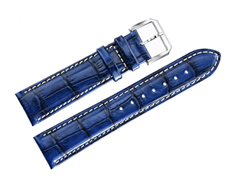 bedb21fa443 Image Unavailable. Image not available for. Color  22mm Shiny Blue High-end  Leather Watch Straps Oily Glossy Vintage Style Grosgrain with White
