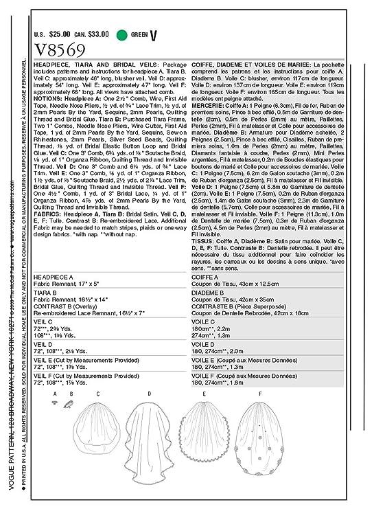 Vogue Patterns V8569 - Patrones de costura para velos de novia ...