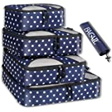 BAGAIL 4 Set Packing Cubes,Travel Luggage Packing Organizers with Laundry Bag (Navy Dot)