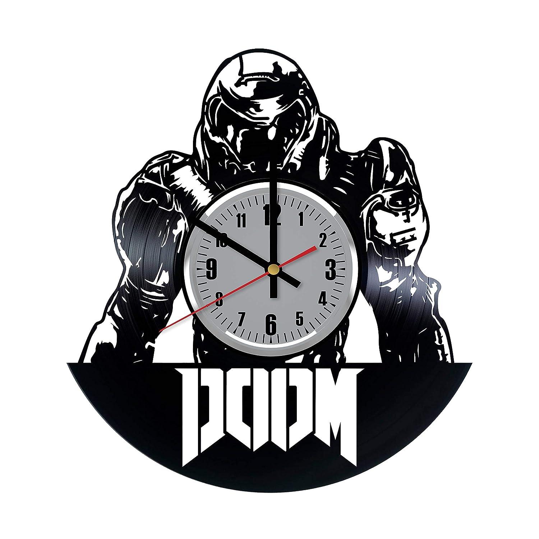Doom - Reloj de Pared de Vinilo, diseño con Texto en inglés Doom Video Game Art, Hecho a Mano, para decoración de Pared, Hecho de Vinilo, Regalo Original ...