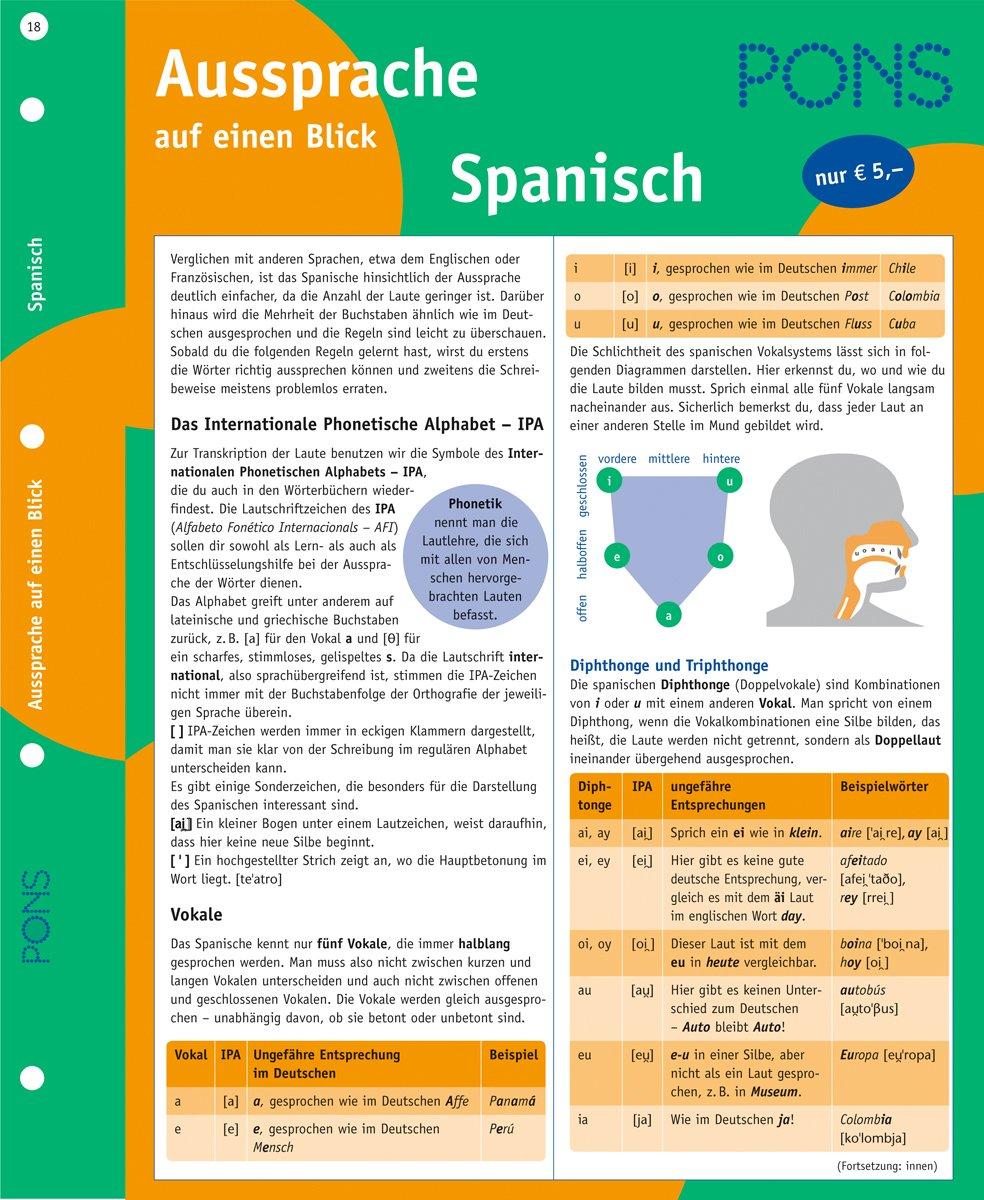 PONS Aussprache auf einen Blick Spanisch: kompakte Übersicht mit Erläuterungen zum Internationalen Phonetischen Alphabet (IPA)
