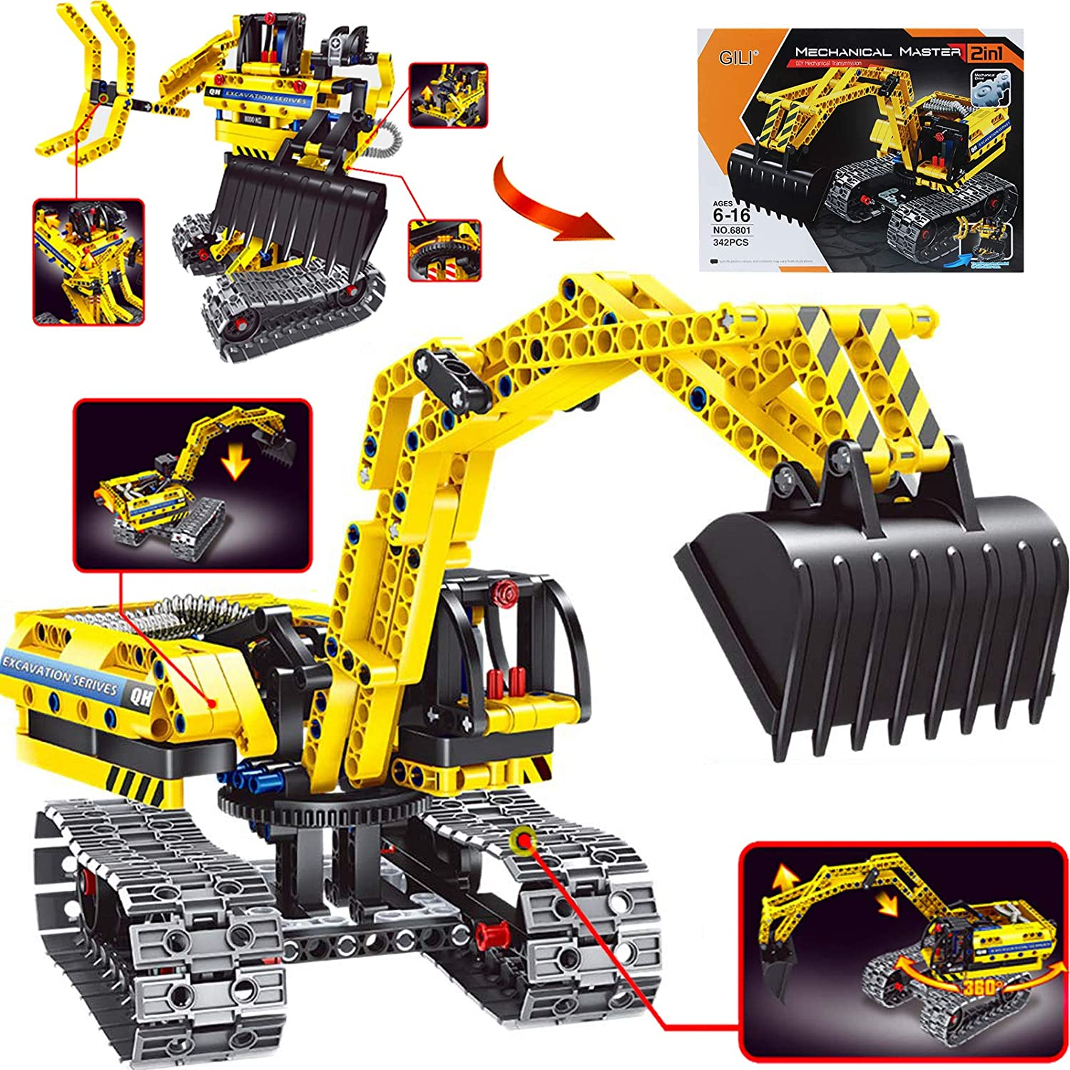Amazon Com Gili Excavator Building Sets For 7 8 9 10 Year Old Boys Girls Construction Engineering Robot Toys For Kids Age 6 12 Educational Stem For Kids Toys Games