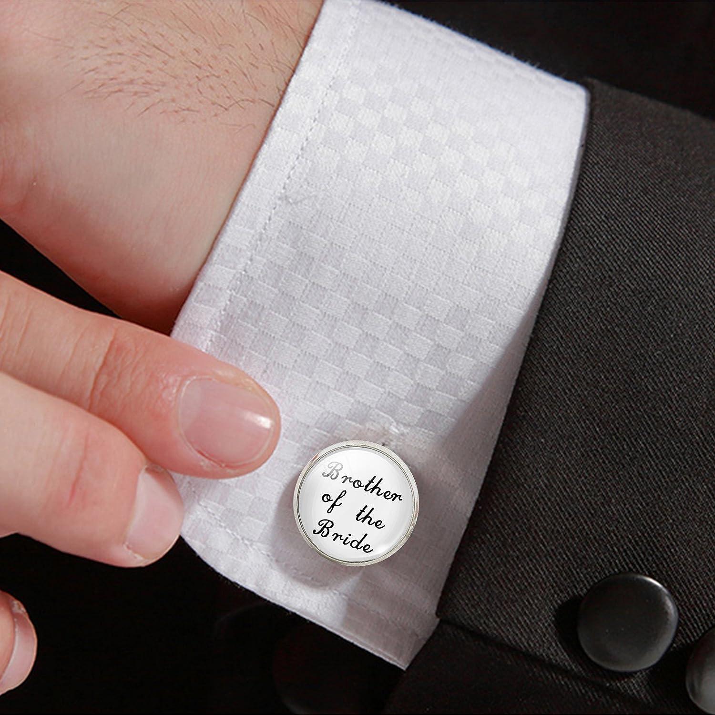 Jiayiqi Mens Glass Time Gem Cufflinks Wedding Gift H10431
