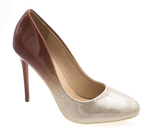 bdabe39ffcd Fashion Shoes - Escarpin Femme Ronde - Chaussures Dégradées Vernis Effet  Paillettes - Haut Talon 11CM