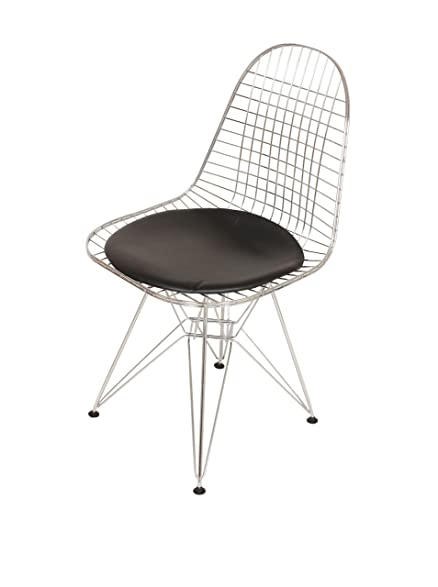 Superieur Eiffel Wire Chair With Genuine Leather Seat Inspired By Eames