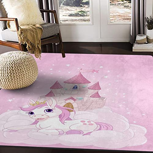 ALAZA Castle Unicorn Cloud Pink Area Rug Rugs