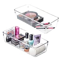 """mDesign Plastic Drawer Organizer Storage Tray Bathroom Vanity, Countertop, Cabinet - Holds Makeup Brushes, Eyeliner, Lip Pencils, Hair Accessories - Textured Base, 5"""" Wide, 2 Pack - Clear"""