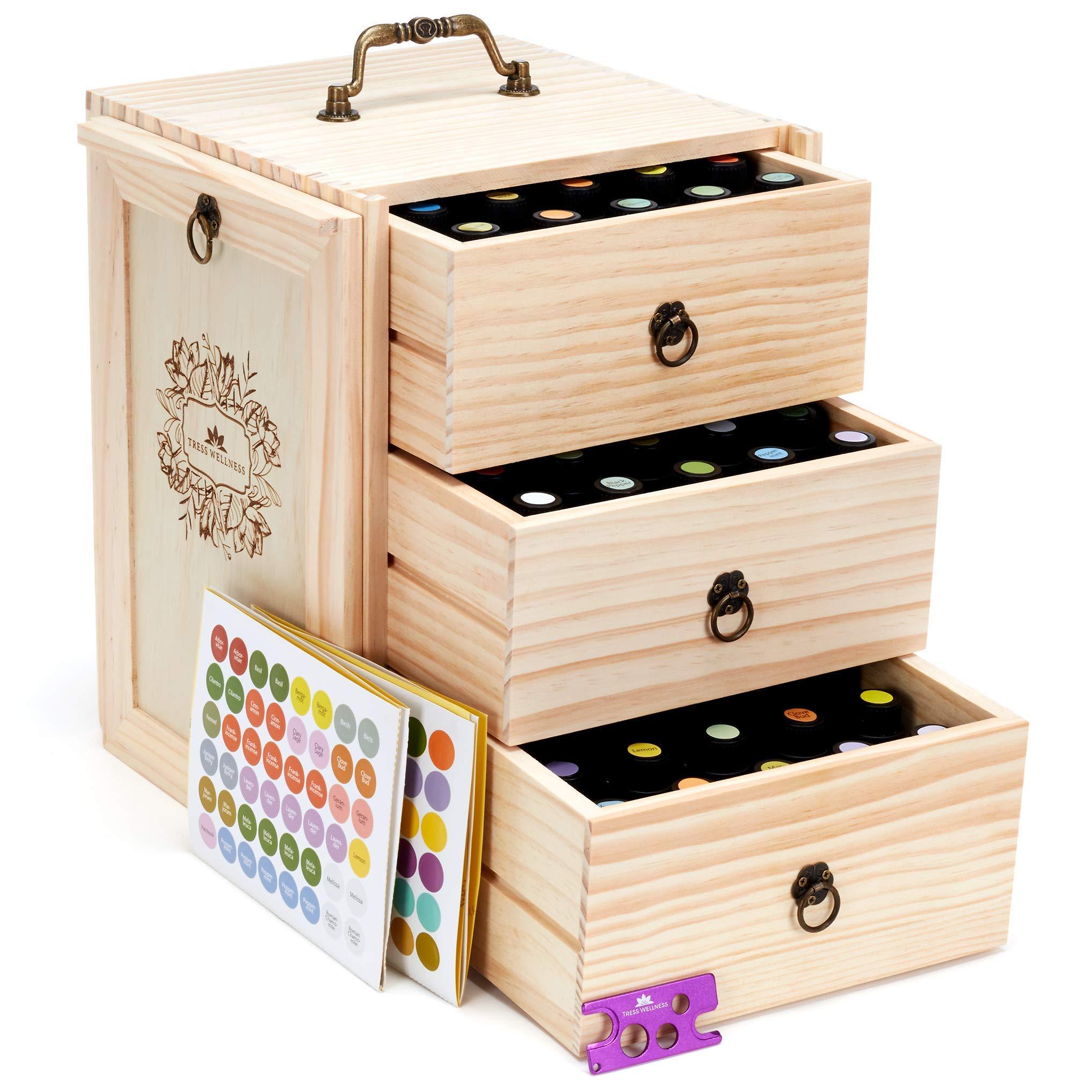 Essential Oils Storage for 75 Bottles - Holds 5 10 15 20 30 ml Young Living & Doterra bottles - Essential Oil Box - Essential Oil Case - Essential Oil Storage box - Essential oil Holder Organizer