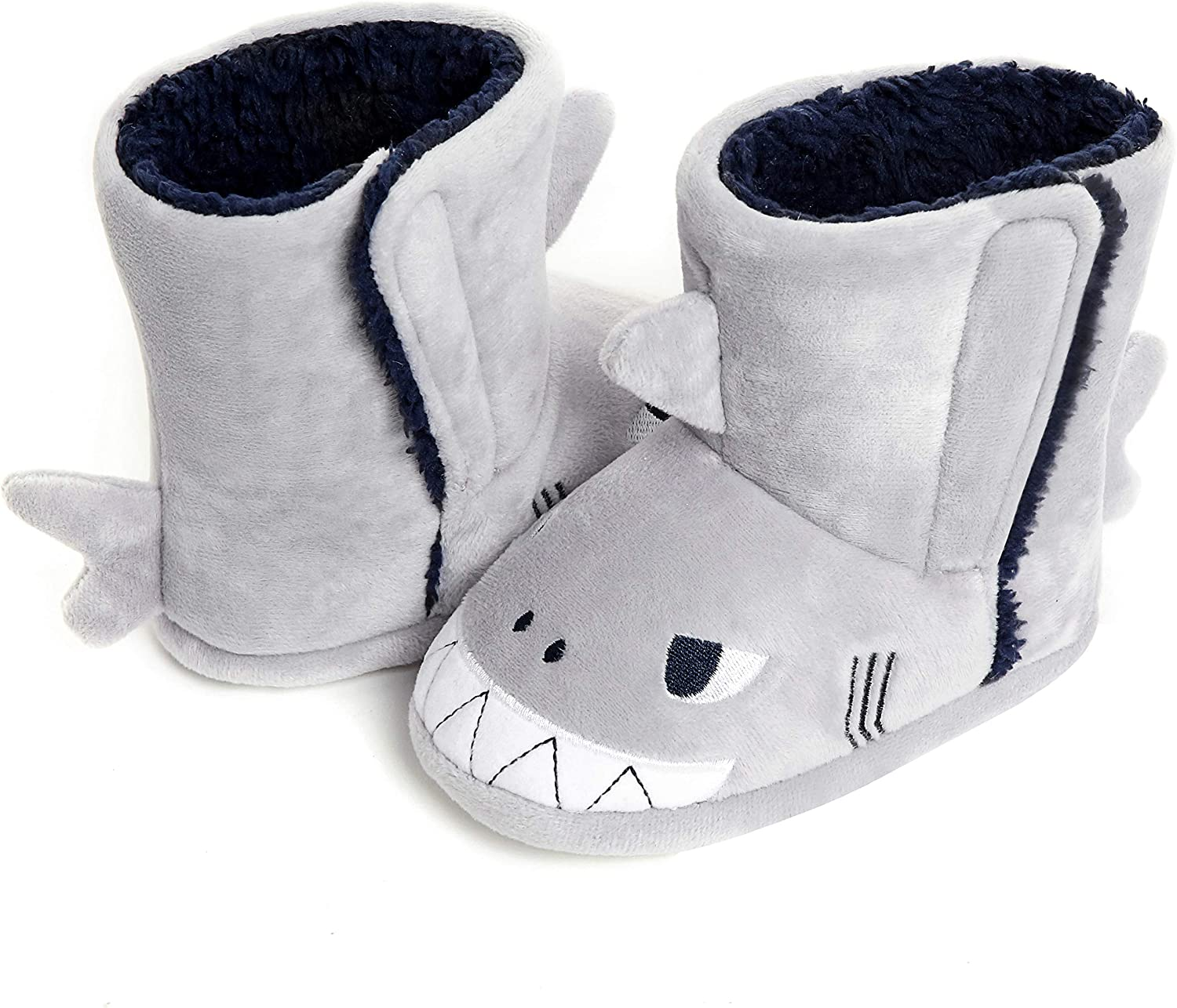 Toddlers Boy Shark Slippers Booties Plush Indoor Winter House Slippers