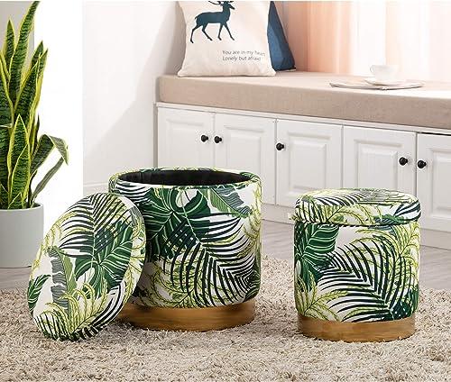DAGONHIL Modern Round Velvet Storage Ottoman,Upholstered Tropical Fresh Style Footstool
