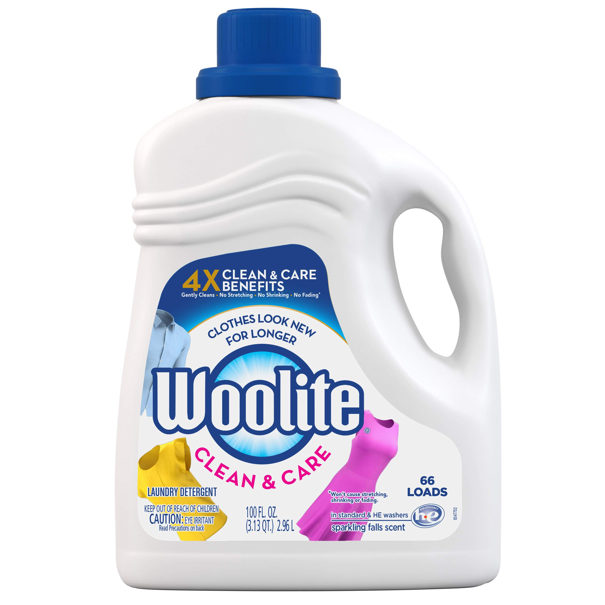 Woolite Clean & Care Liquid Laundry Detergent, 66 Loads, 100oz, Regular & HE Washers, Gentle Cycle, sparkling falls scent, packaging may vary by Woolite