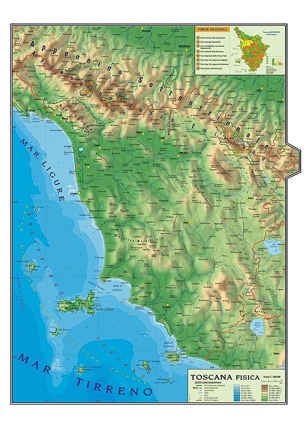 Toscana Politica Cartina Geografica.Carta Geografica Murale Regionale Toscana 100x140 Bifacciale