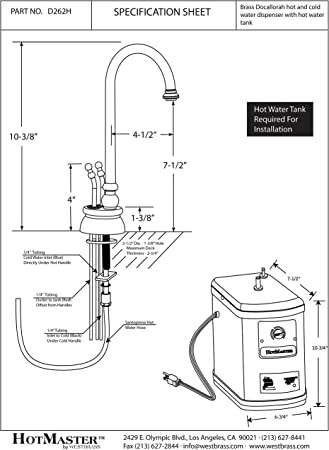 Antique Copper Westbrass D262H-11 Docalorah Hot-Cold Water Dispenser Kit