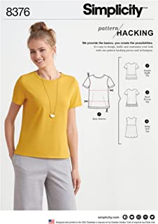 product image for Simplicity US8376A Pattern Hacking Women's Double Ruffe, Back Hi-Low, and Baby Doll Shirt Patterns, Sizes XXS-XXL