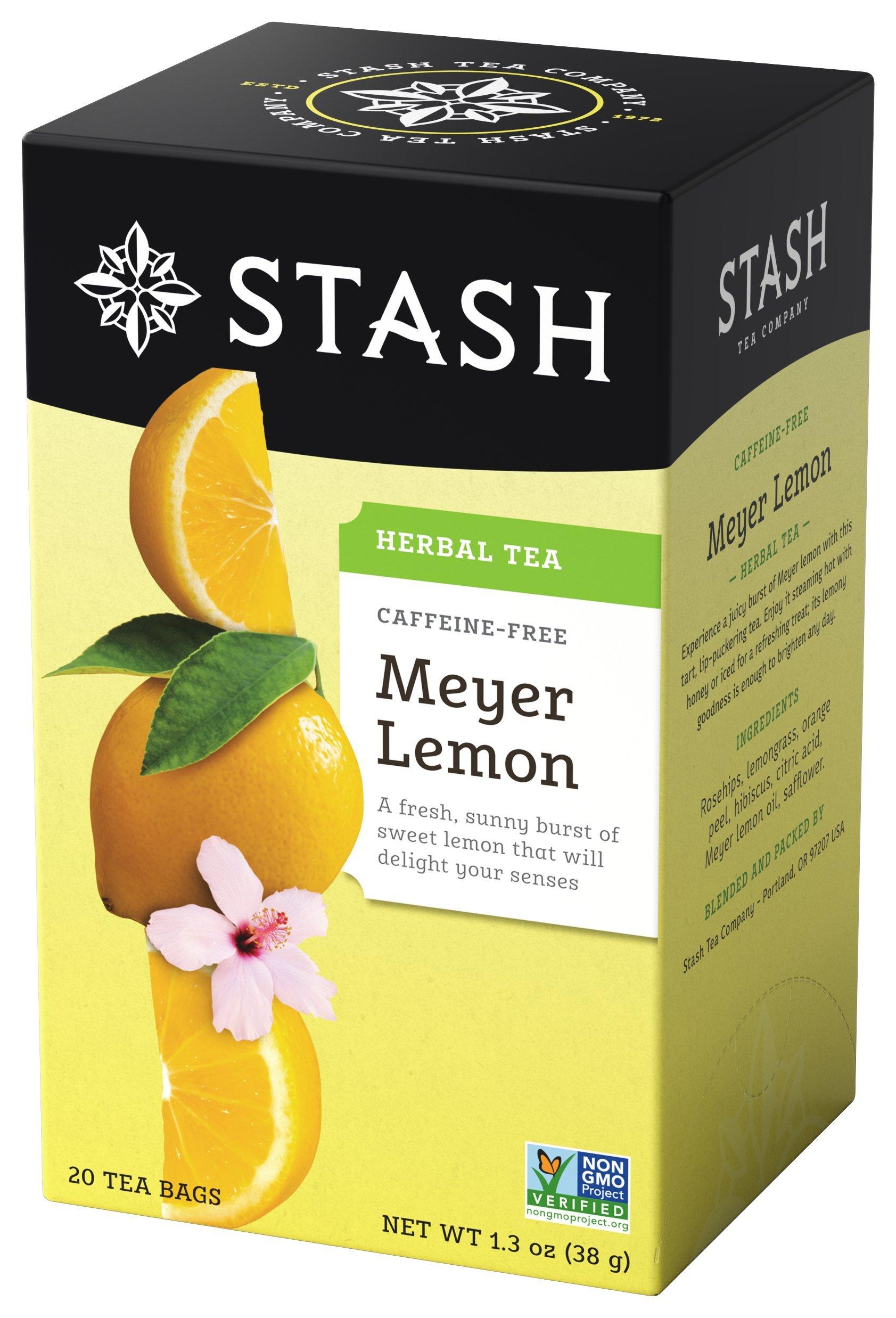 Stash Tea Meyer Lemon Herbal Tea 20 Count Tea Bags in Foil (Pack of 6) (Packaging May Vary) Individual Herbal Tea Bags for Use in Teapots Mugs or Cups, Brew Hot Tea or Iced Tea
