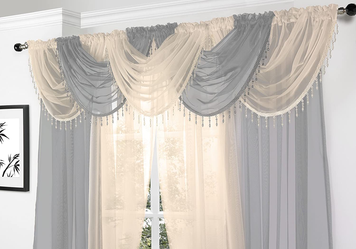 Silver Voile Curtain Swag With Crystal Beaded Trim By Supplied Maple Textiles Amazoncouk Kitchen Home