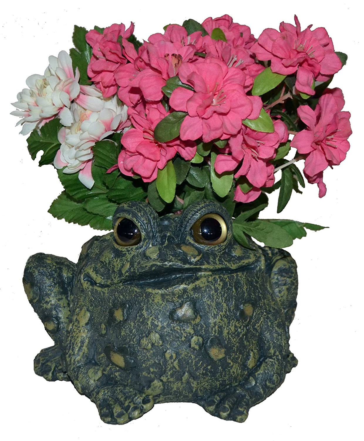 Toad Hollow HomeStyles Large Toad Planter 7 H Holds 4 W Pot, Natural Green