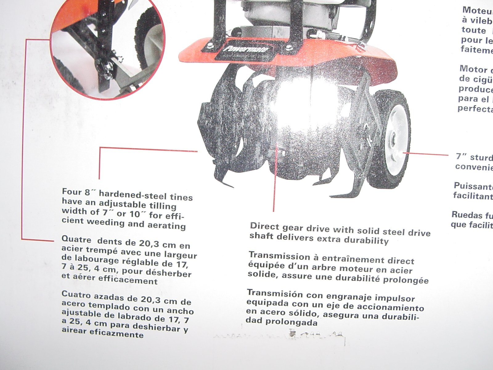 Powermate Cultivator Garden Tiller Flower Bed Weeder Four Tine 8 in. 43 cc 2-Cycle Gas