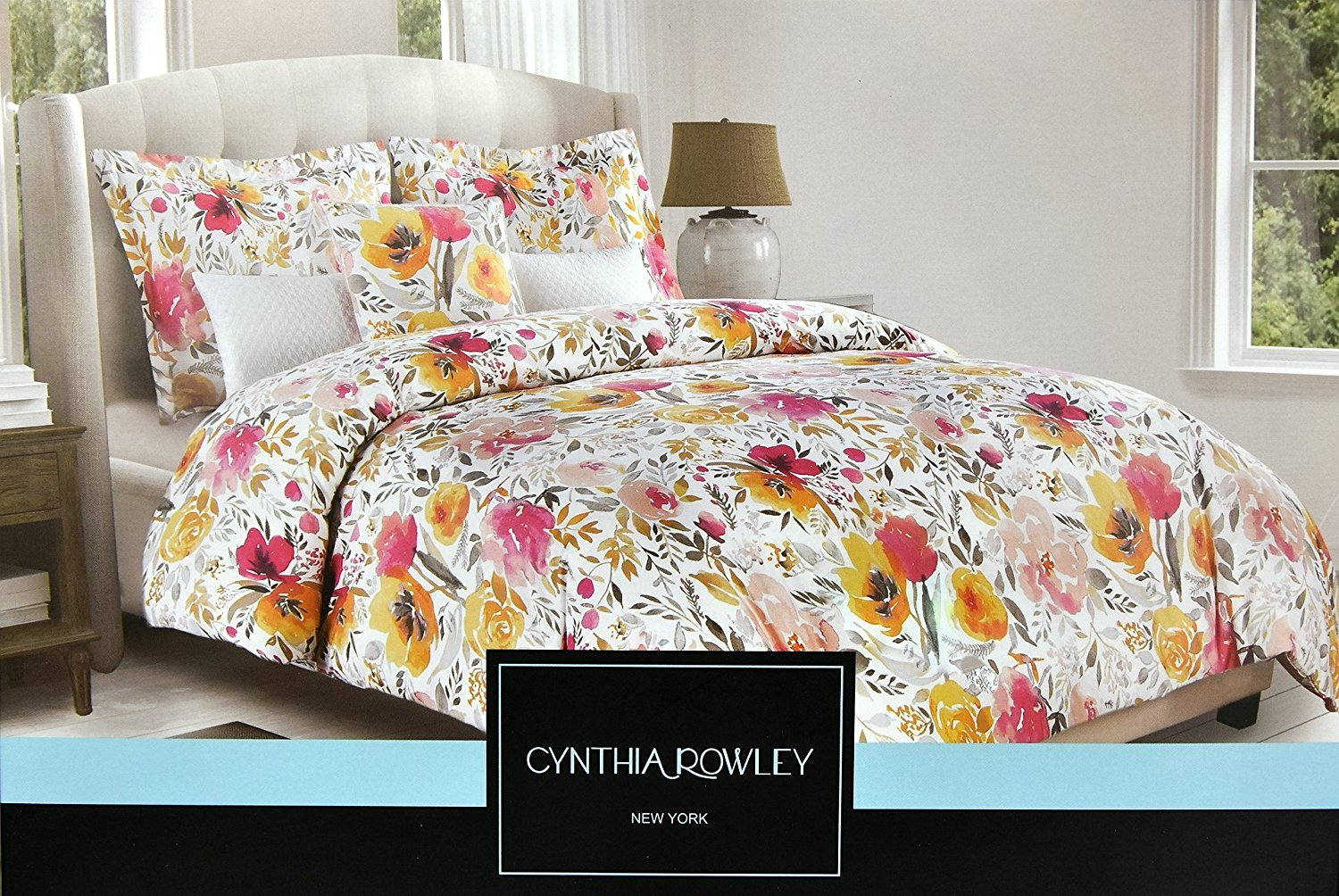 Cynthia Rowley 3pc Duvet Cover Set Large Floral Jacobean Flowers Paisley Scroll Gray Grey Turquoise Taupe Mustard Yellow Luxury Cotton King