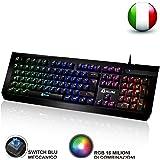 KLIM Domination Tastiera Meccanica ITALIANA RGB - Nuova - Switches Blue - Digitazione Rapida, Precisa, Confortevole - 5 Anni di Garanzia - Gaming Tastiera - COMPLETA PERSONALIZZAZIONE DEI COLORI