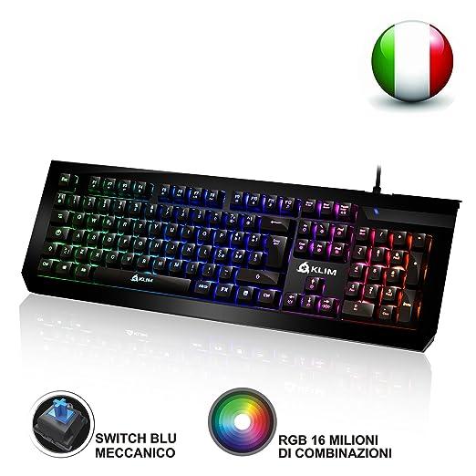 38 opinioni per KLIM Domination- Tastiera Meccanica ITALIANA RGB- Nuova- 2017- Switches Blue-