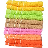 Mandhania Lilly Cotton Face Towels Pack of 12 (Orange, Pink, Blue and Maroon. 10 inch x 10 inch)
