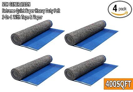 Square Feet Royal Blue AMERIQUE AMFLT100BL Super Quiet Felt Underlayment Heavy Duty 3mm Padding with Vapor Barrier /& Tape 100 sq.ft