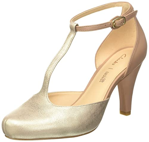 fe9faa5a2818 Clarks Women s s Dalia Tulip T-Bar Pumps  Amazon.co.uk  Shoes   Bags
