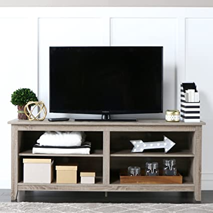 WE Furniture 58u0026quot; Wood TV Stand Storage Console, Driftwood