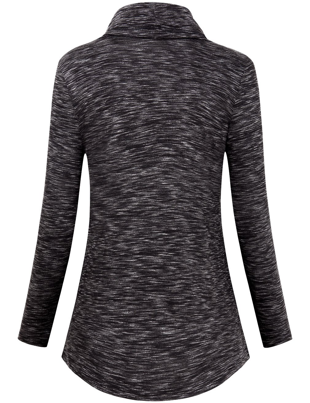 Faddare Activewear Long Sleeve Tops for Women,Cowl Neck Shirt,Black White XL by Faddare (Image #2)